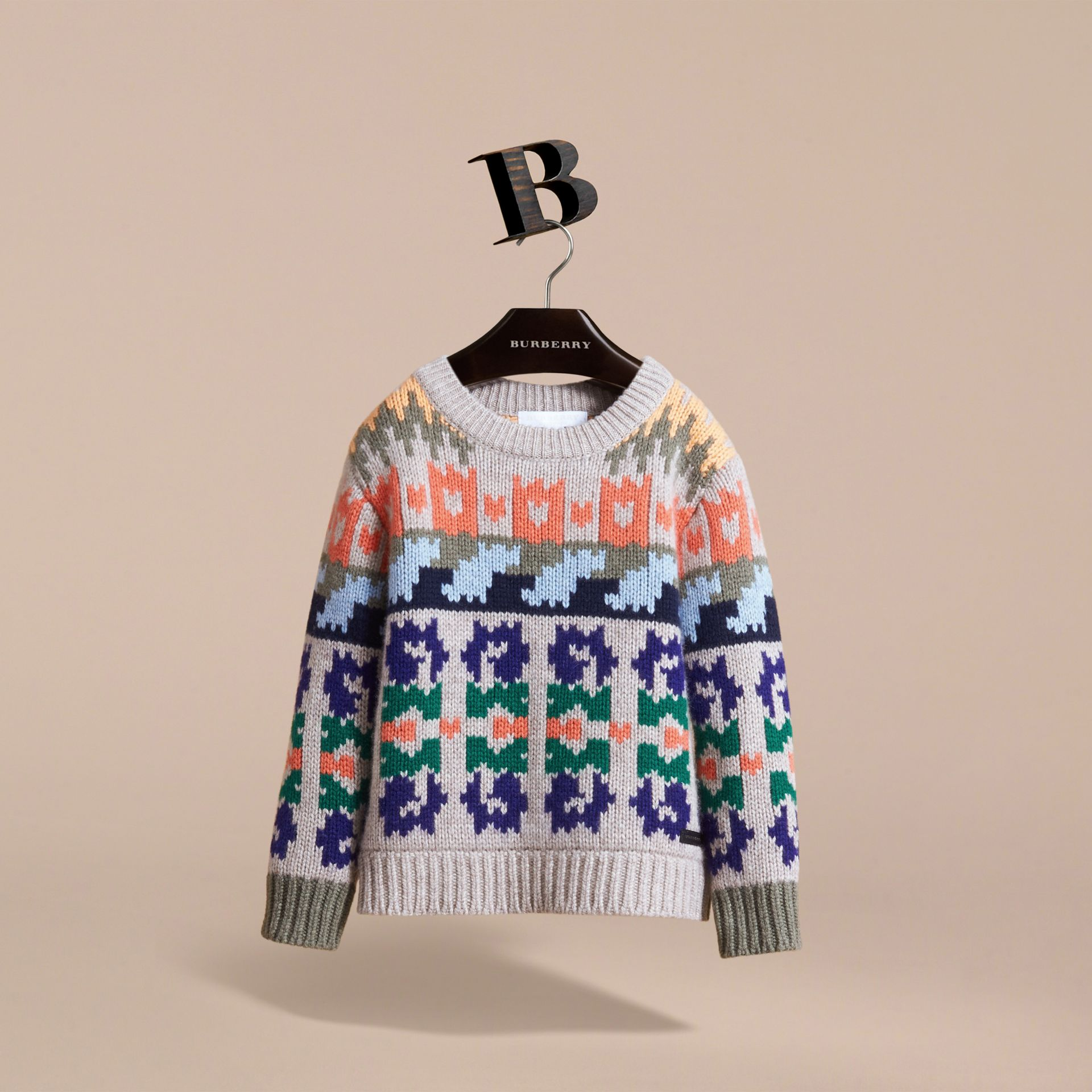 Exploded Fair Isle Wool Cashmere Sweater in Pale Cinnamon - Boy | Burberry - gallery image 3