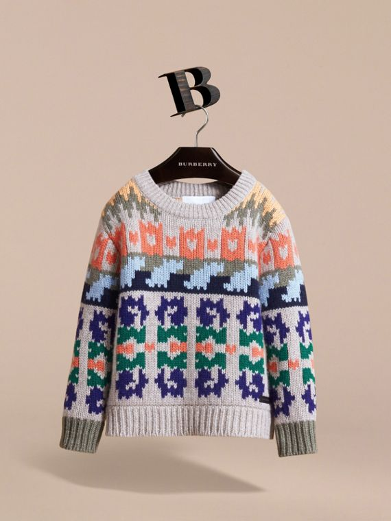 Exploded Fair Isle Wool Cashmere Sweater in Pale Cinnamon - Boy | Burberry Australia - cell image 2