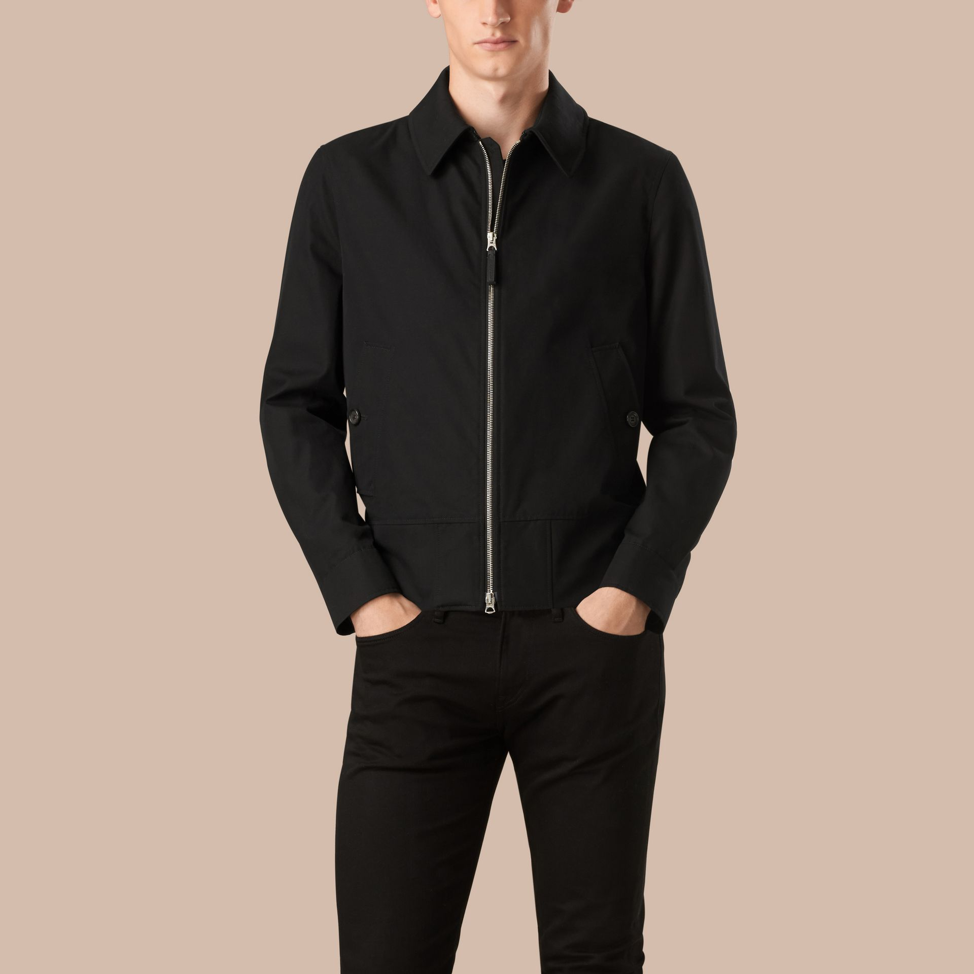 Black Cotton Gabardine Jacket - gallery image 1