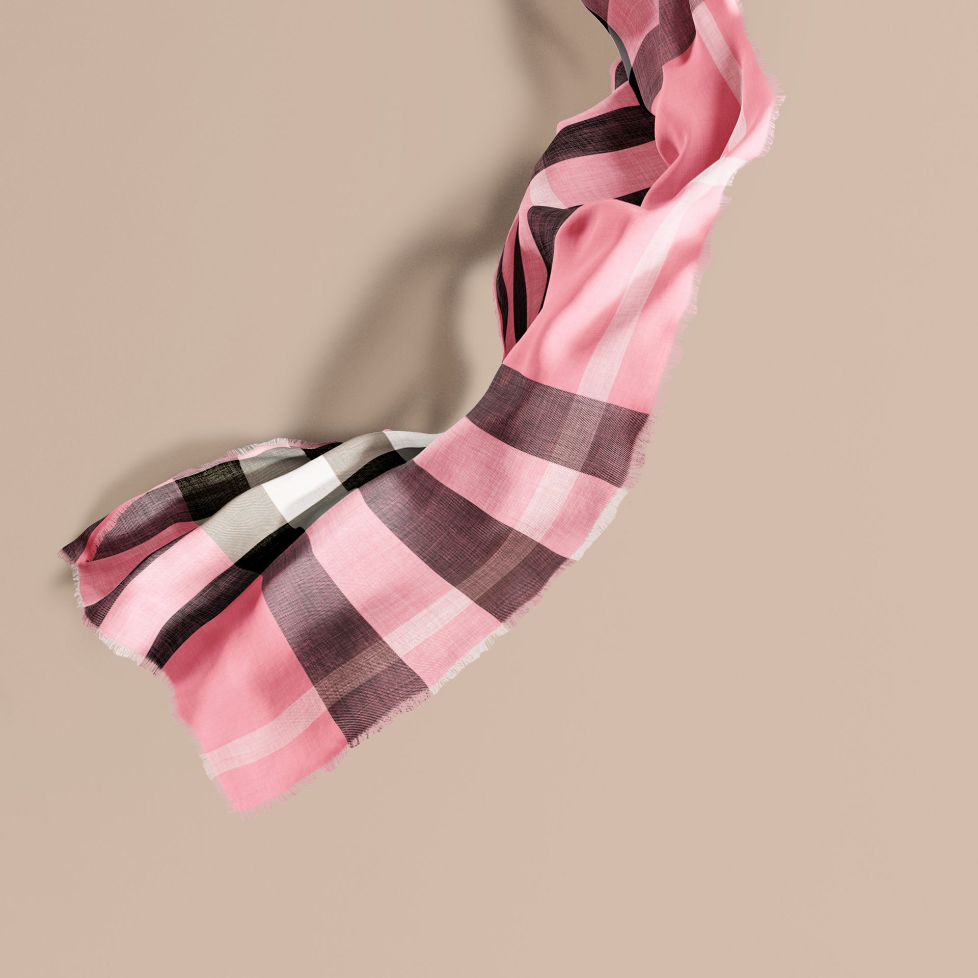 Rose pink The Lightweight Cashmere Scarf in Check Rose Pink - gallery image 1