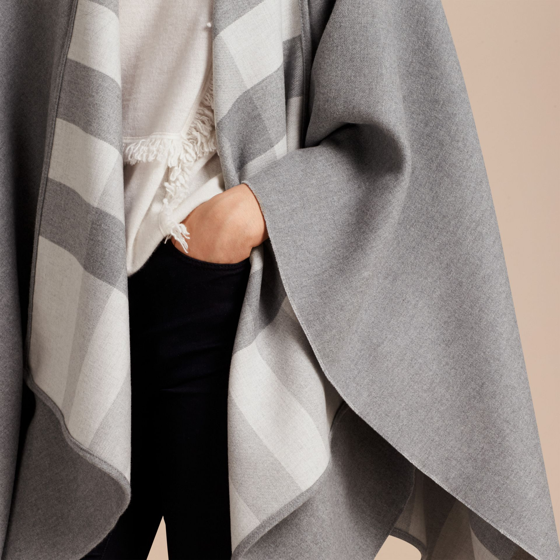 Reversible Check Merino Wool Poncho in Light Grey - Women | Burberry - gallery image 5