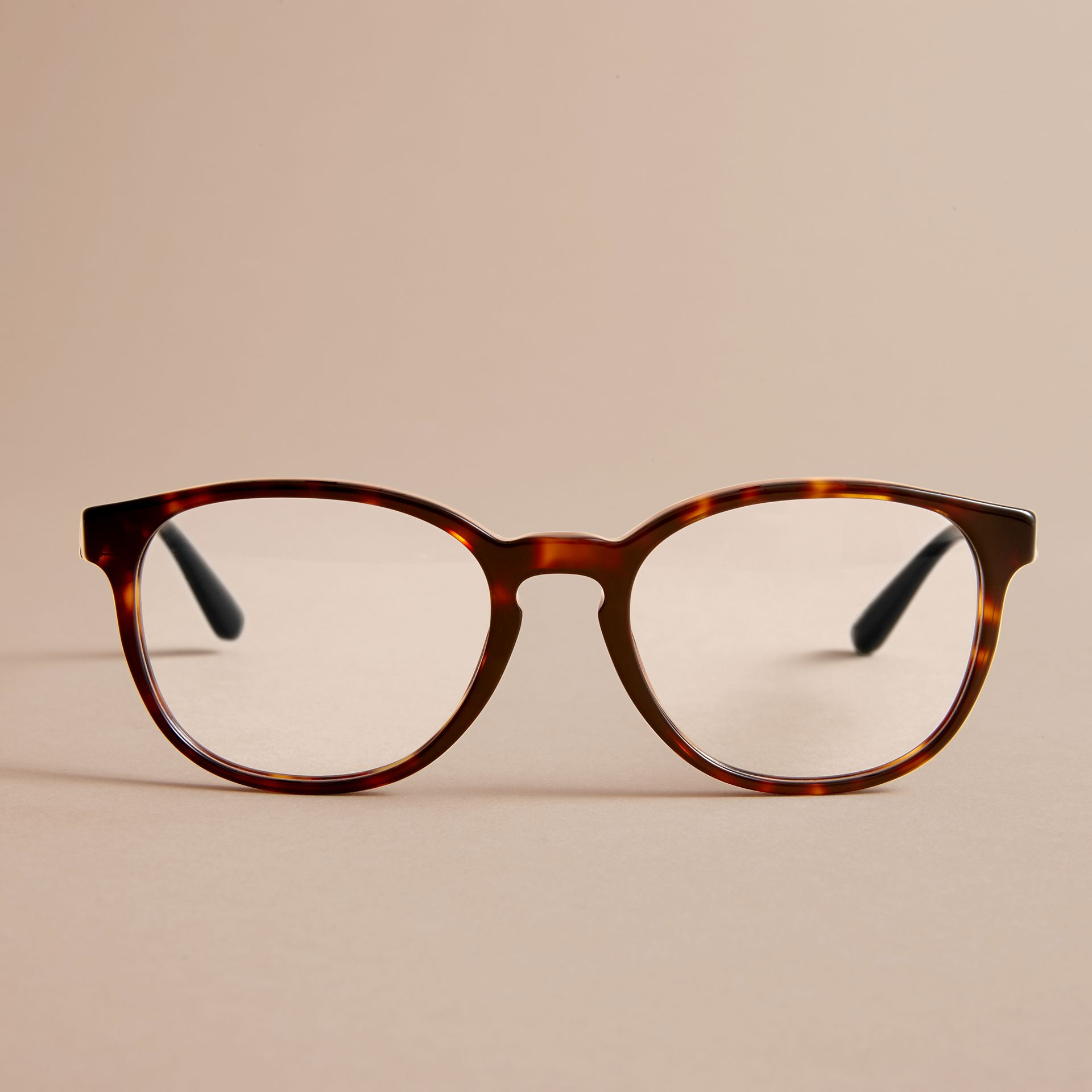 Check Detail Round Optical Frames in Tortoiseshell - gallery image 3