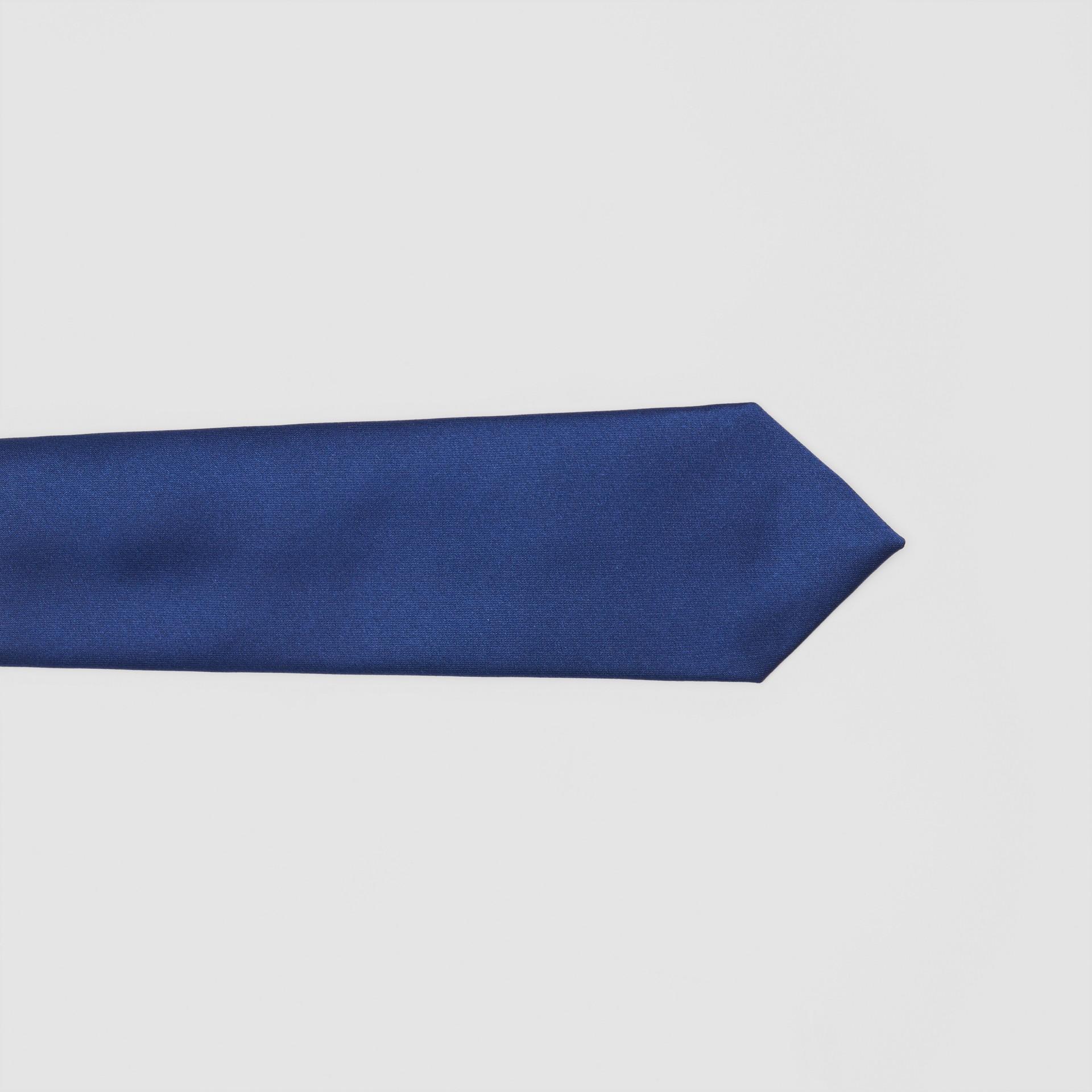 Classic Cut Logo Appliqué Silk Satin Tie in Sapphire Blue - Men | Burberry - gallery image 1