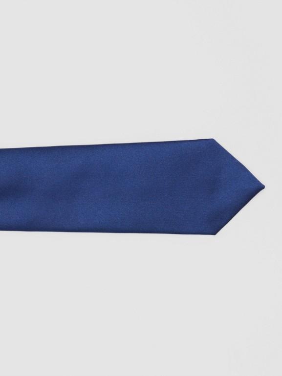 Classic Cut Logo Appliqué Silk Satin Tie in Sapphire Blue - Men | Burberry - cell image 1