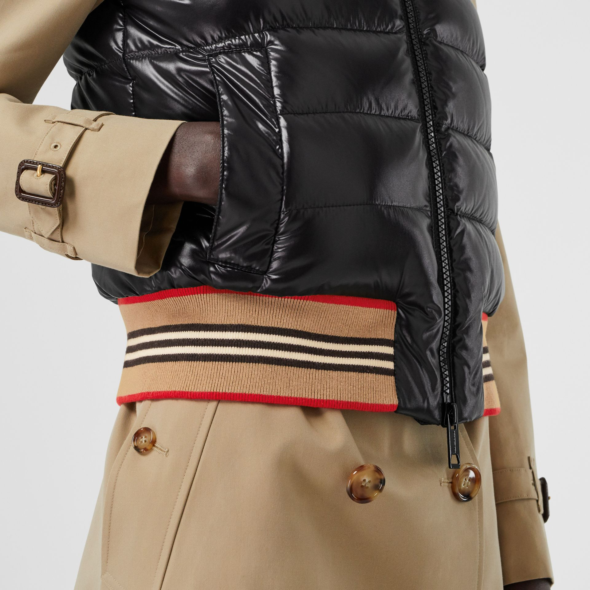 Icon Stripe Detail Down-filled Puffer Gilet in Black - Women | Burberry - gallery image 4