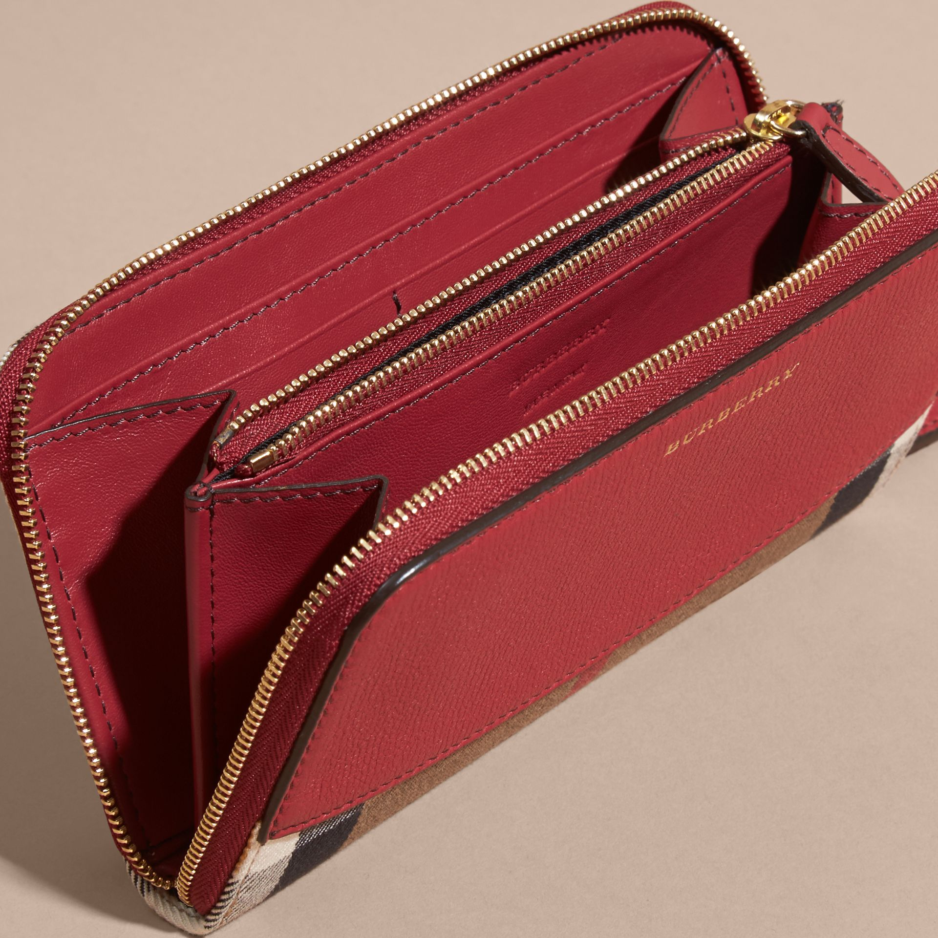 House Check and Leather Ziparound Wallet Military Red - gallery image 5