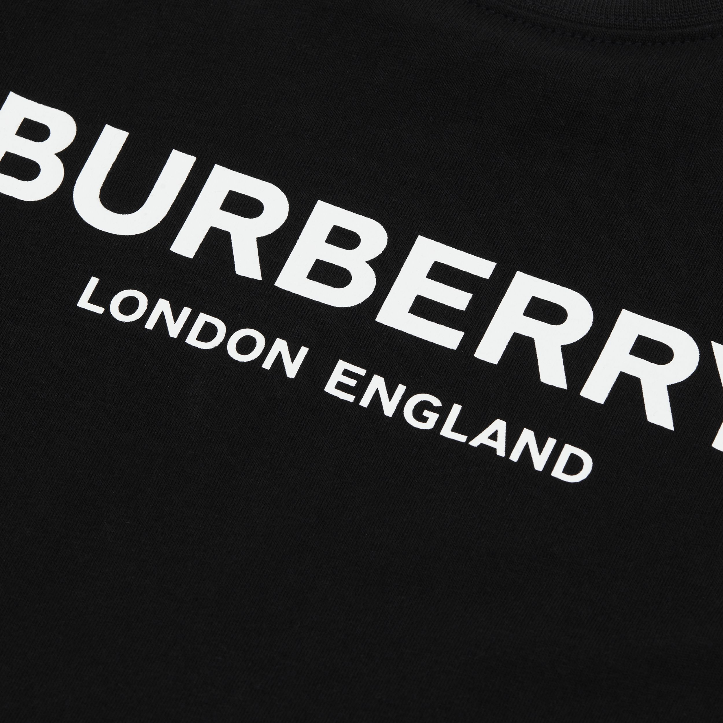 Logo Print Cotton T-shirt in Black - Children | Burberry - 2