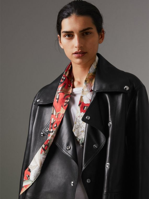Graffiti Archive Scarf Print Silk Slim Scarf in Bright Red - Women | Burberry Singapore - cell image 2
