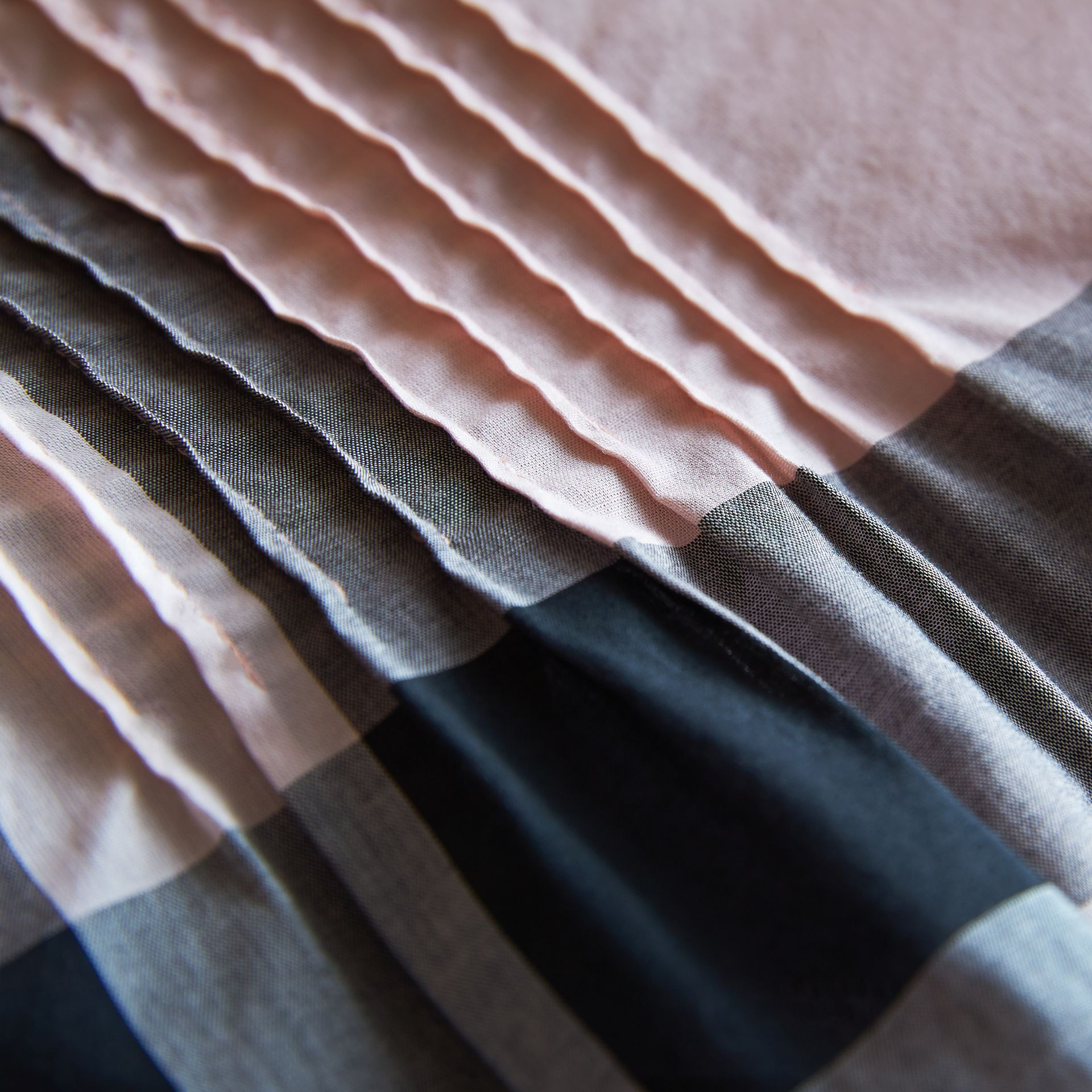 Pintuck Detail Check Cotton Top in Vintage Pink - Girl | Burberry - gallery image 2