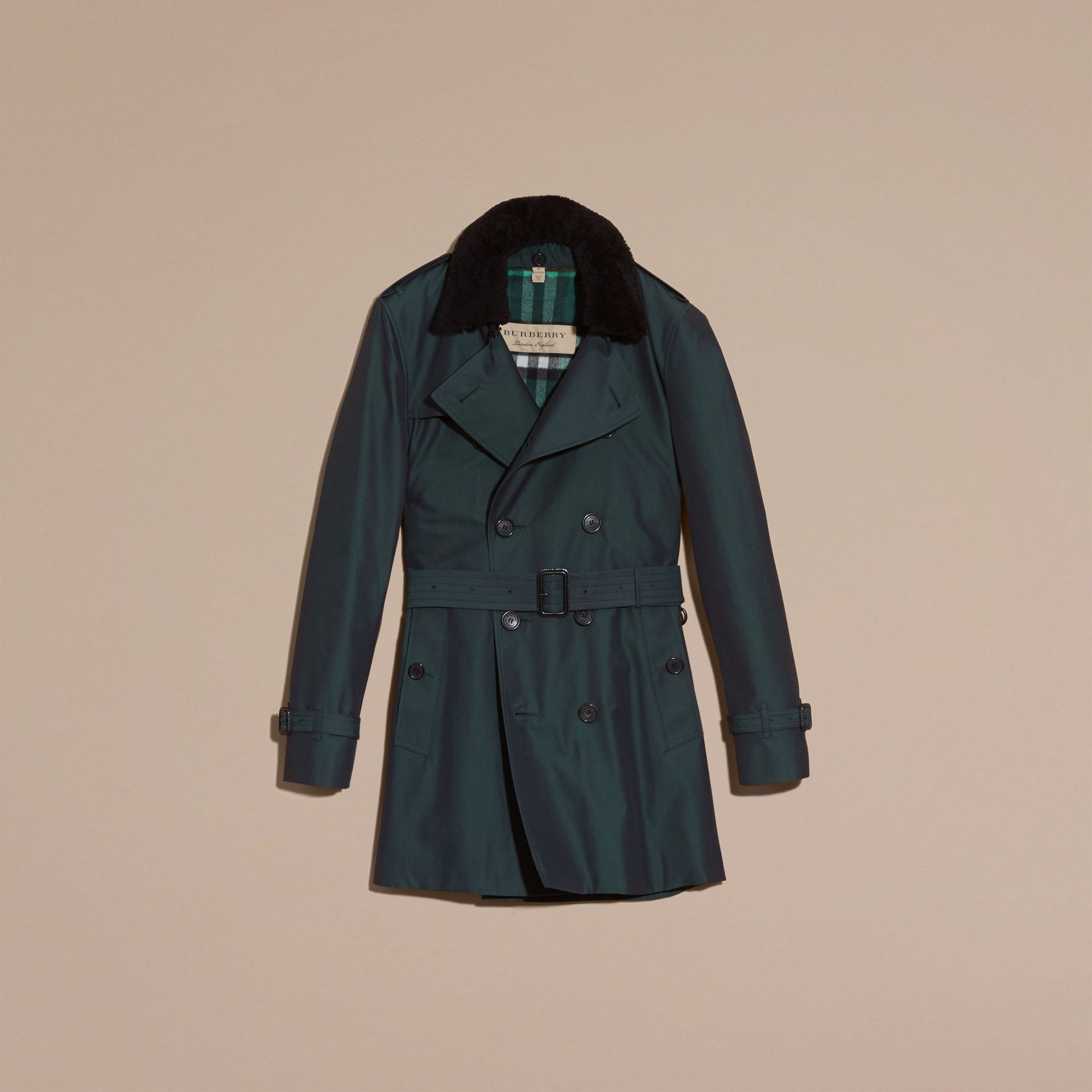 Detachable Shearling Topcollar Cotton Gabardine Trench Coat with Warmer in Racing Green - gallery image 4