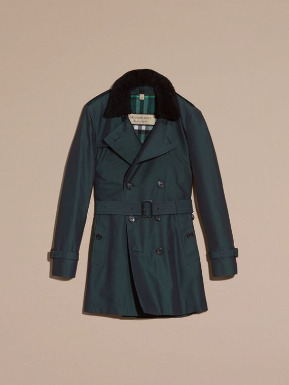 Detachable Shearling Topcollar Cotton Gabardine Trench Coat with Warmer in Racing Green - cell image 3