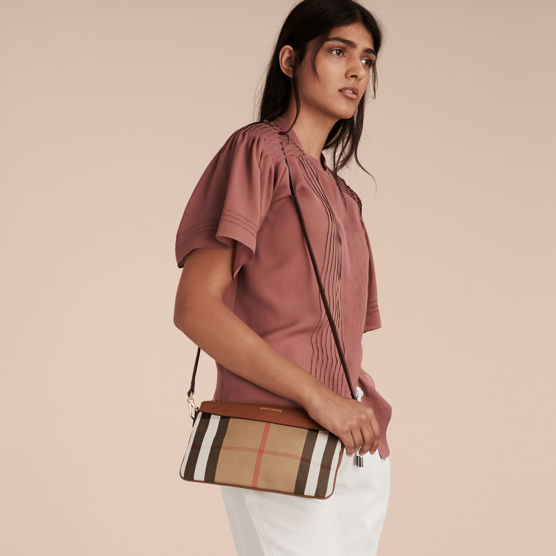 House Check and Leather Clutch Bag in Tan - Women | Burberry Singapore - gallery image 2