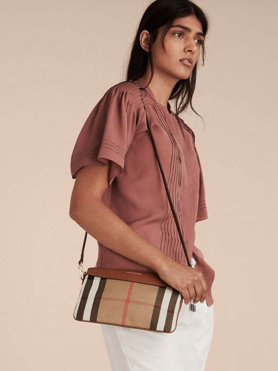 House Check and Leather Clutch Bag in Tan - Women | Burberry Canada - cell image 2