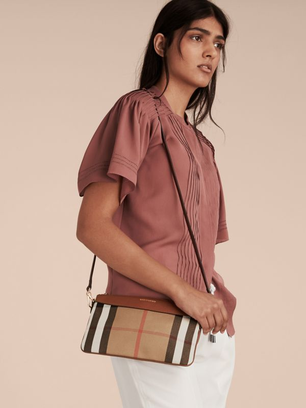 House Check and Leather Clutch Bag in Tan - Women | Burberry - cell image 2