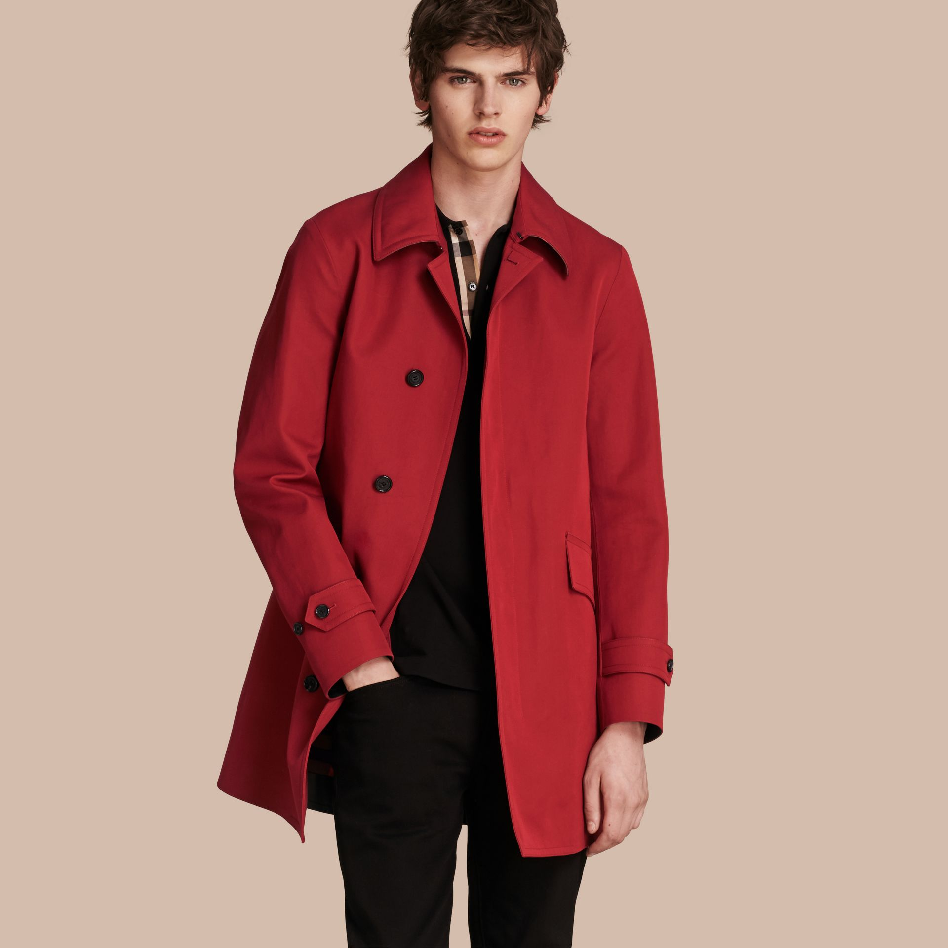 Showerproof Cotton Gabardine Car Coat Military Red - gallery image 1