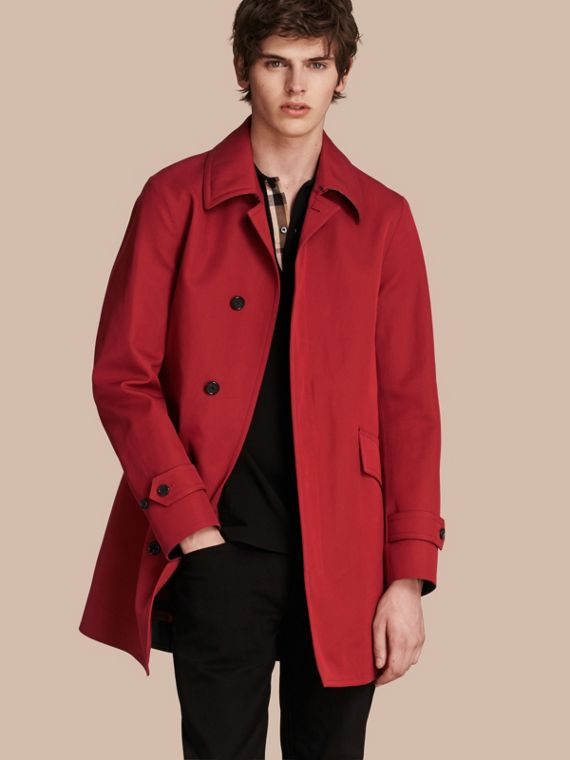 Showerproof Cotton Gabardine Car Coat Military Red