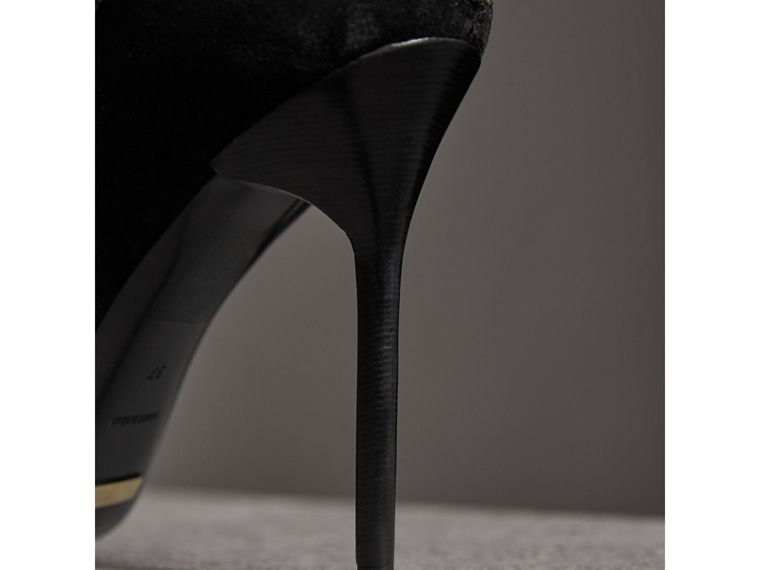 Scalloped Suede Lace-up Sandals in Black - Women | Burberry - cell image 1