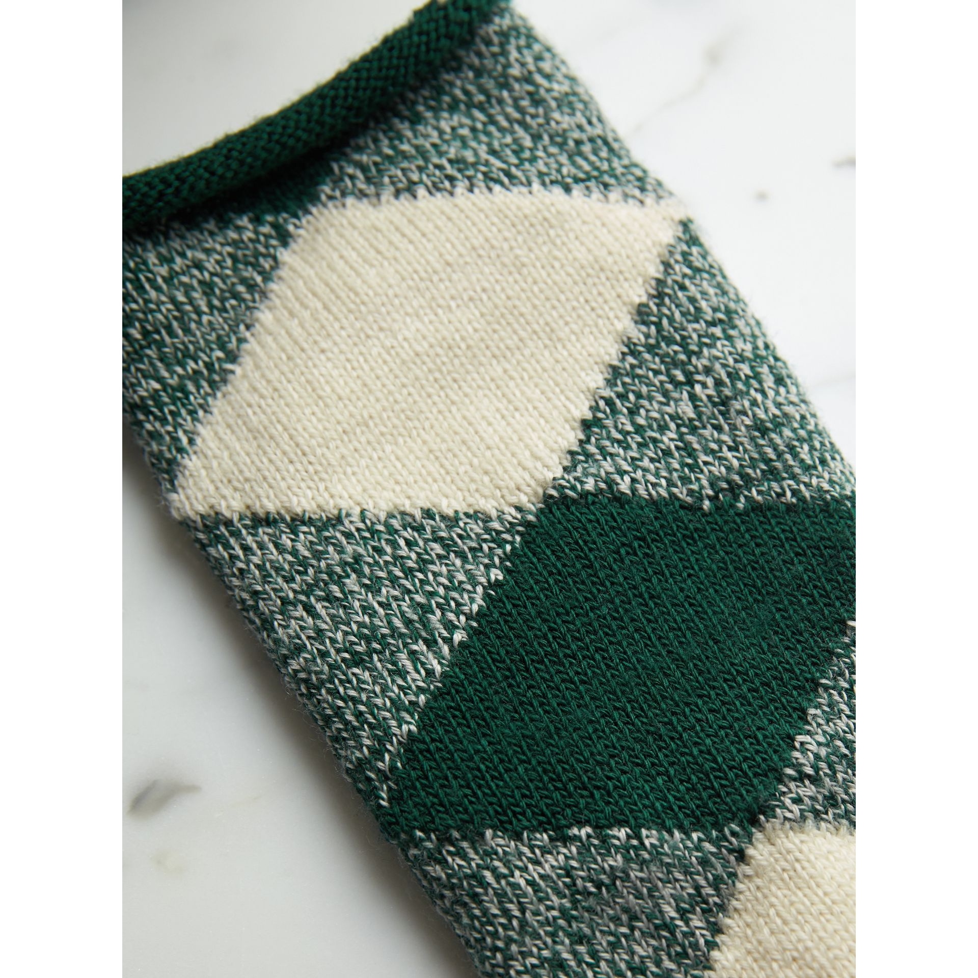 Argyle Knitted Wool Socks in Emerald Green | Burberry - gallery image 2