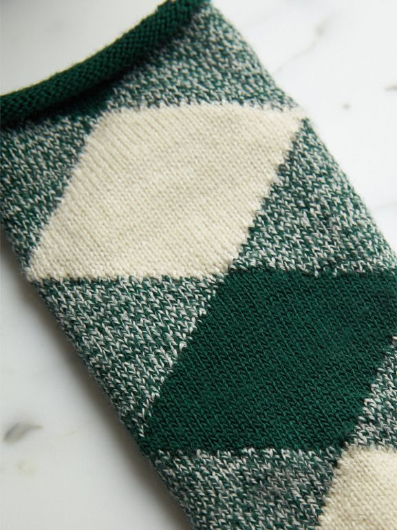 Argyle Knitted Wool Socks in Emerald Green | Burberry - cell image 1
