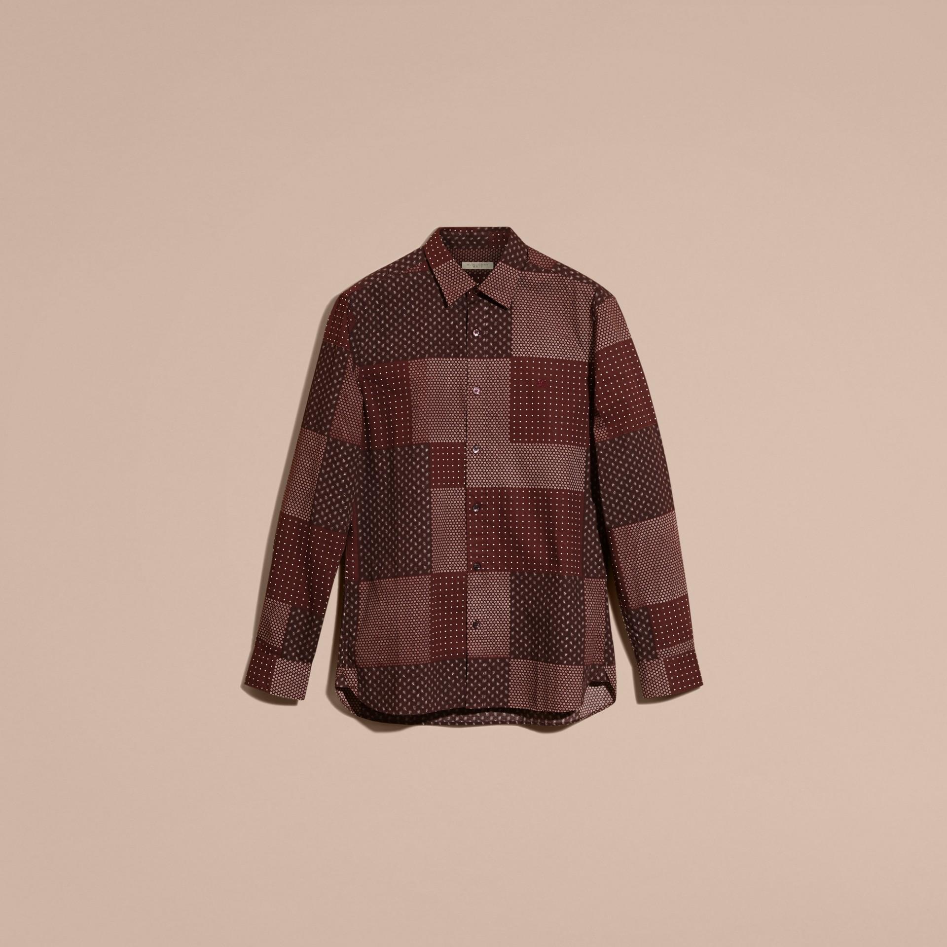 Dunkles holunderbeerfarben Baumwollhemd mit Patchworkmuster Dunkles Holunderbeerfarben - Galerie-Bild 4
