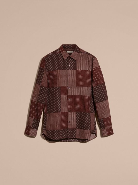 Dark elderberry Patchwork Print Cotton Shirt Dark Elderberry - cell image 3