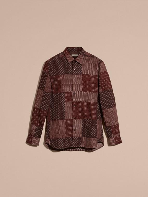 Sambuco scuro Camicia in cotone con stampa patchwork Sambuco Scuro - cell image 3