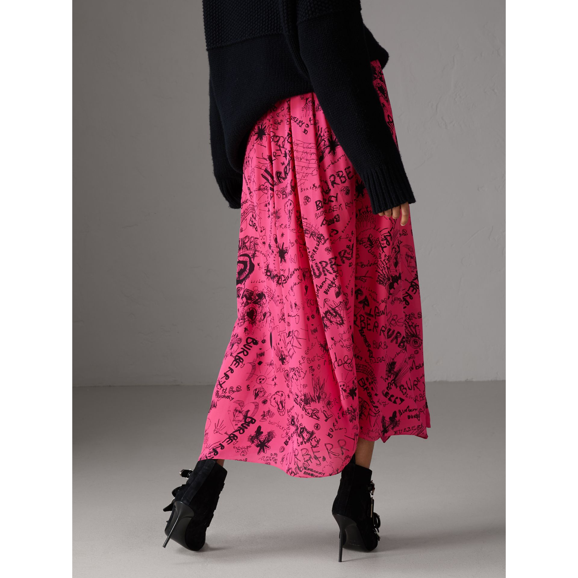 Doodle Print Pintuck Detail Silk Skirt in Fluro Pink - Women | Burberry - gallery image 2