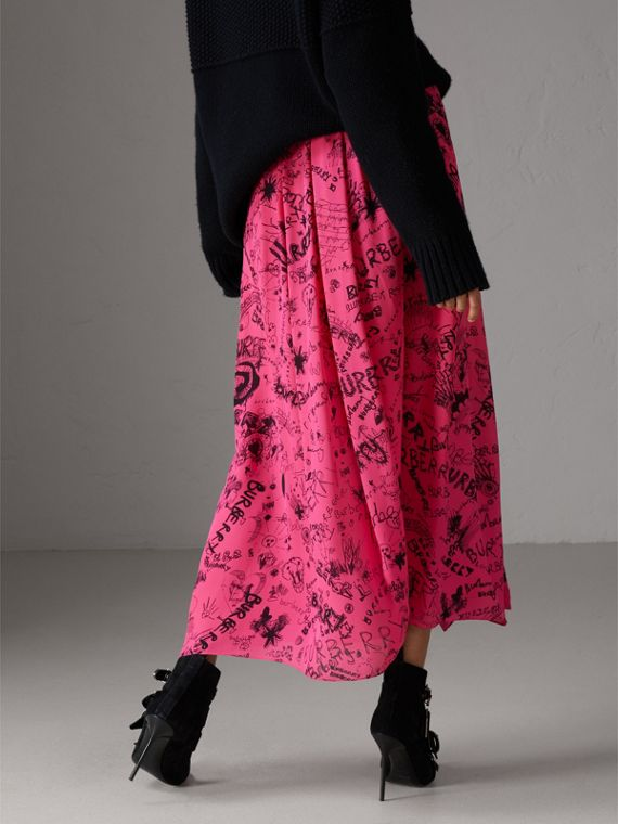 Doodle Print Pintuck Detail Silk Skirt in Fluro Pink - Women | Burberry - cell image 2
