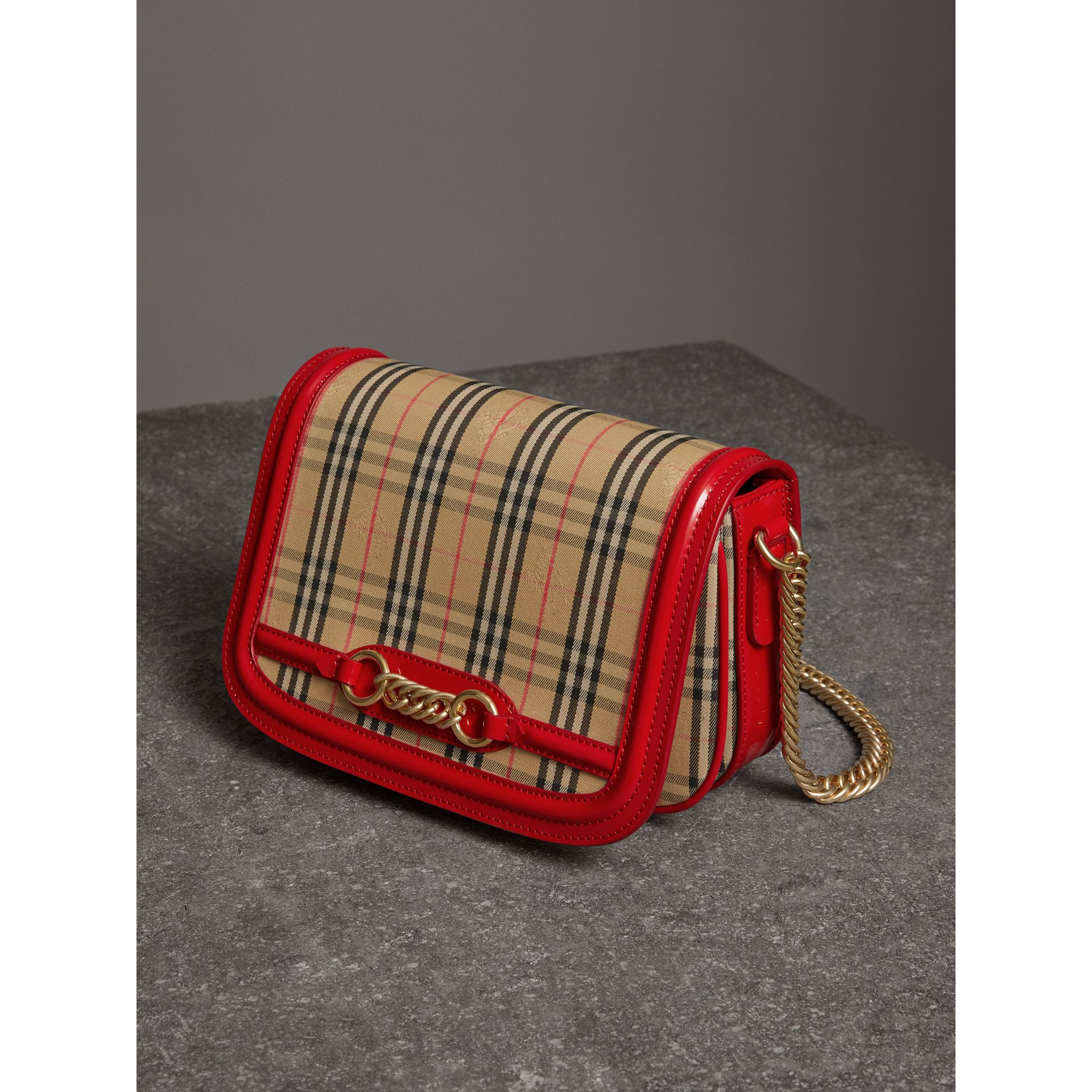 The 1983 Check Link Bag with Patent Trim in Bright Red - Women | Burberry Australia - gallery image 6