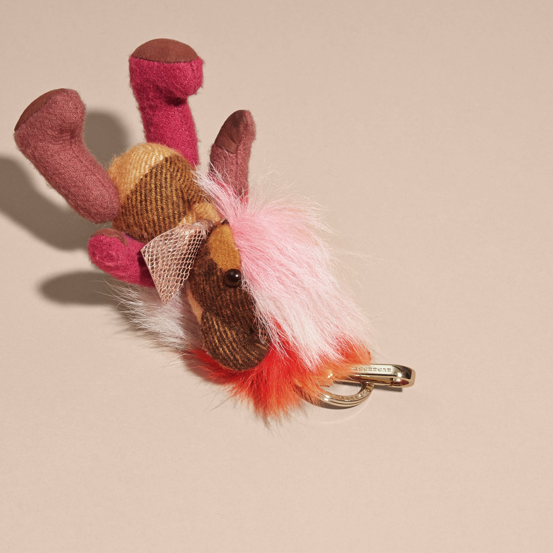 Thomas Bear Charm with Rainbow Shearling Trim in Ash Rose - Women | Burberry - gallery image 3