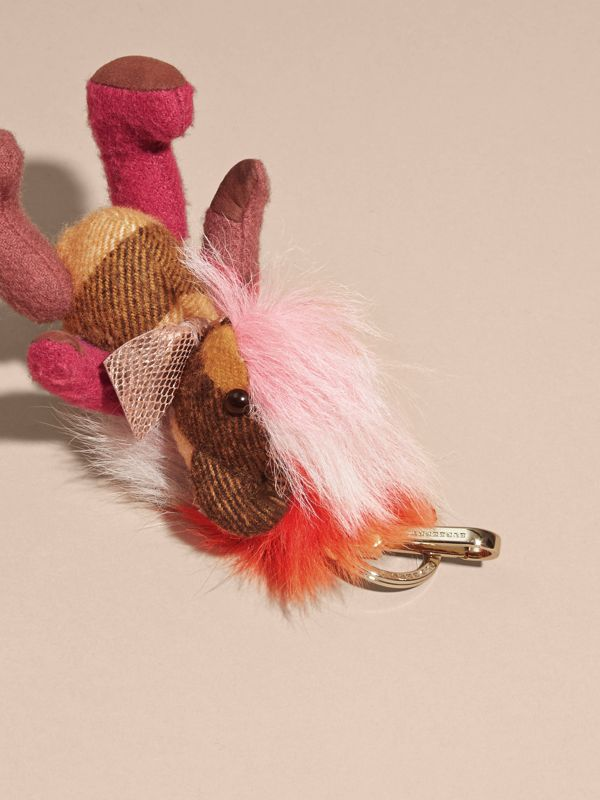 Thomas Bear Charm with Rainbow Shearling Trim in Ash Rose - Women | Burberry - cell image 3