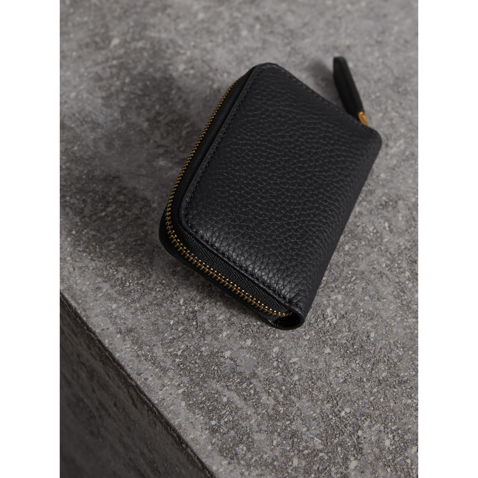 Textured Leather Ziparound Coin Case in Black - Men | Burberry - gallery image 3