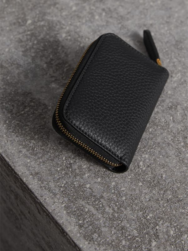 Textured Leather Ziparound Coin Case in Black - Men | Burberry - cell image 2
