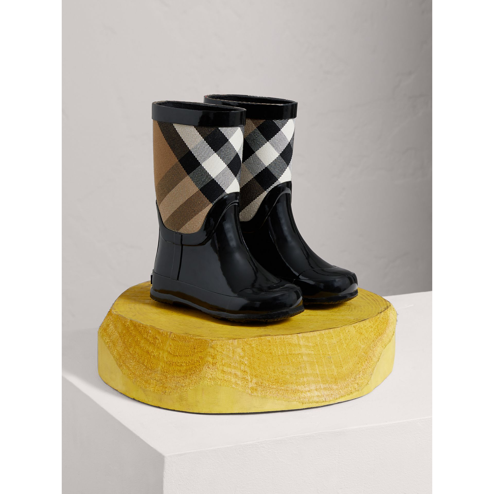 House Check Panel Rain Boots in Black | Burberry Singapore - gallery image 0