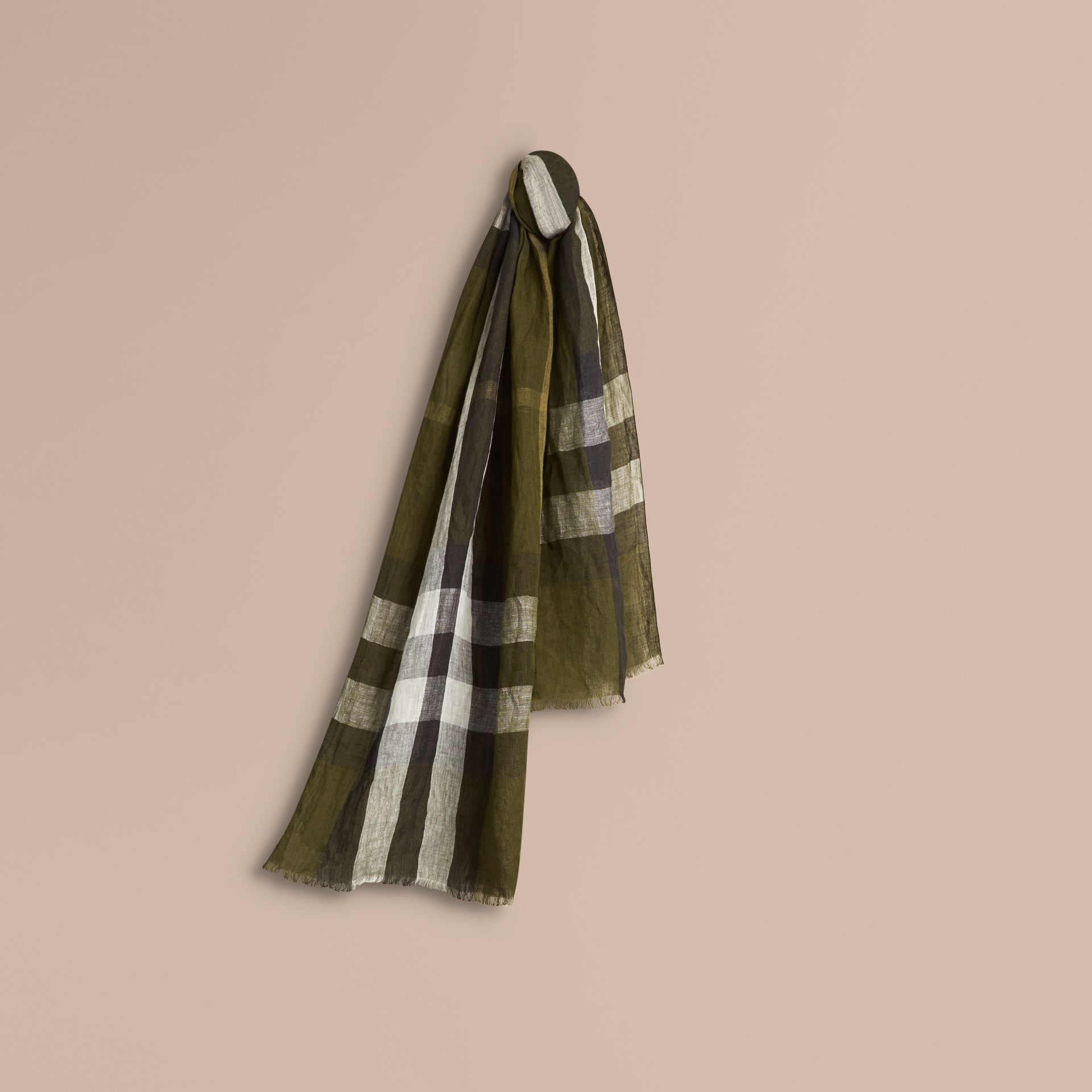 Olive green Check Crinkled Linen Scarf Olive Green - gallery image 1