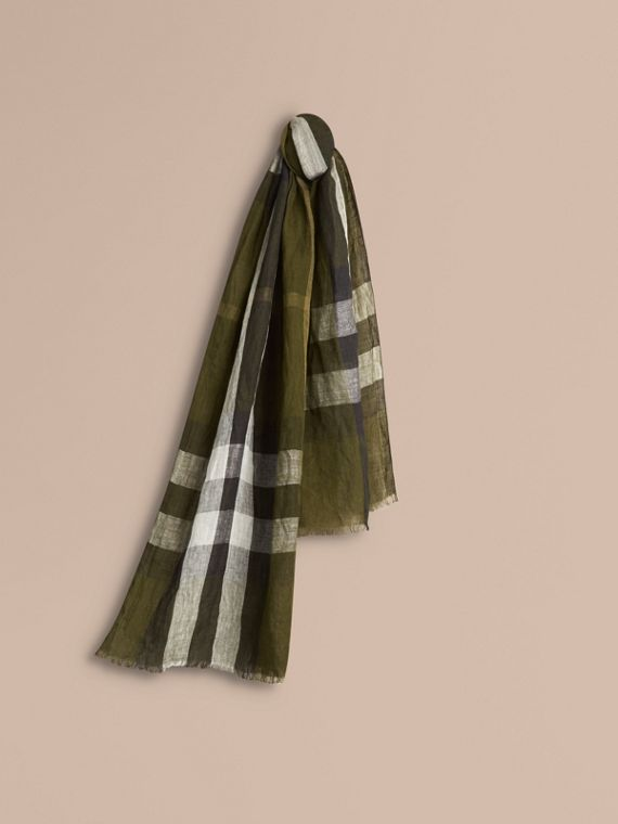 Check Crinkled Linen Scarf Olive Green