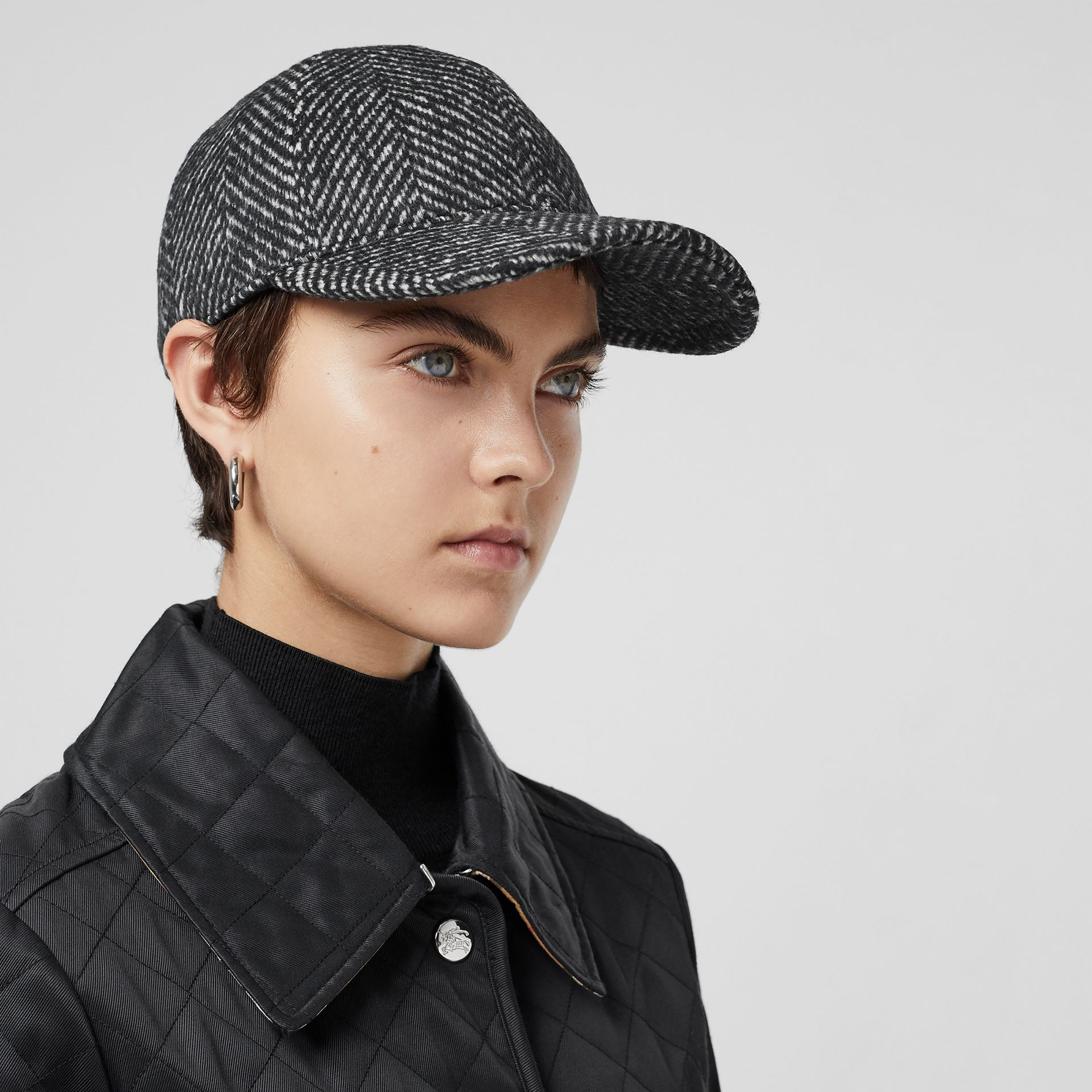 Herringbone Wool Silk Blend Baseball Cap in Black | Burberry - gallery image 2