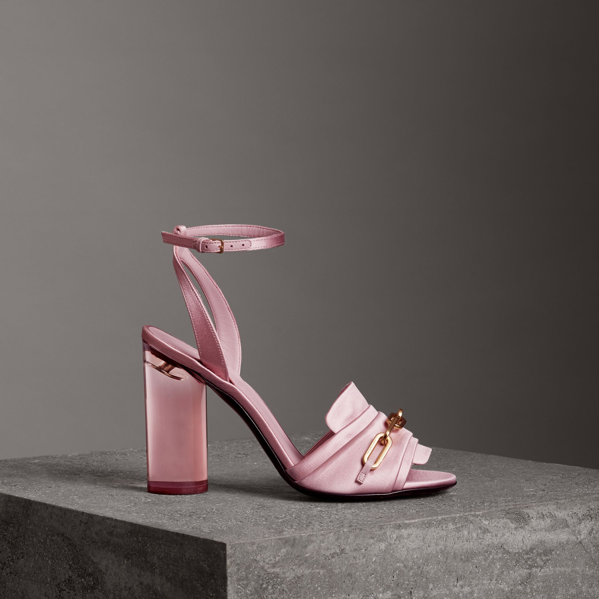 Link Detail Perspex Heel Satin Sandals in Light Pink Melange - Women | Burberry - gallery image 0