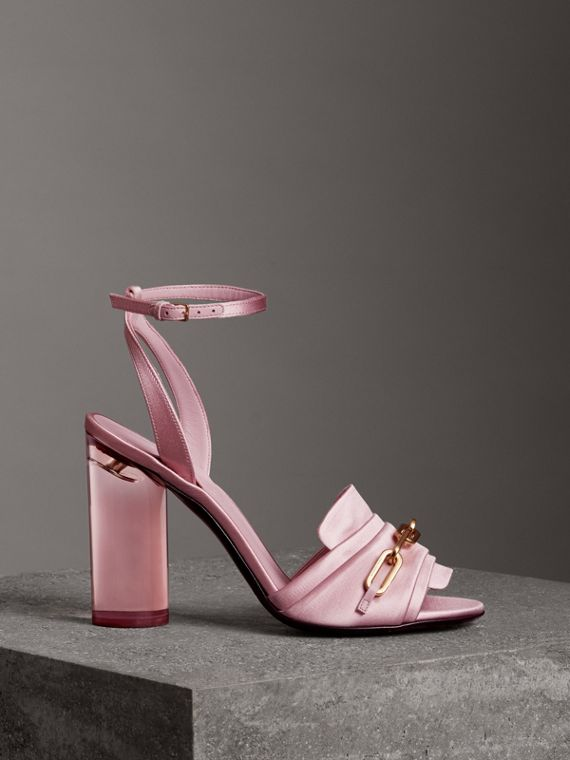 Link Detail Perspex Heel Satin Sandals in Light Pink Melange
