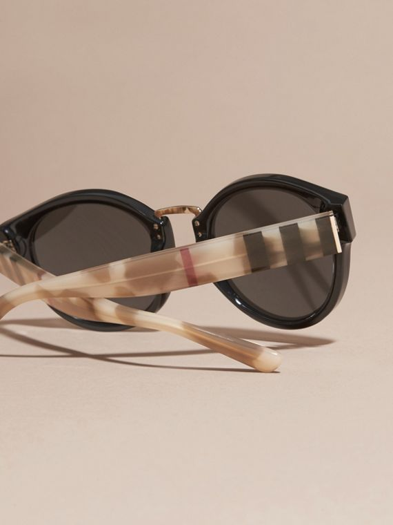 Check and Camouflage Detail Round Frame Sunglasses in Black - Women | Burberry - cell image 3