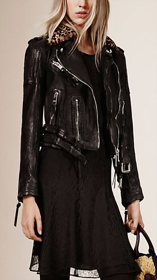 Lambskin Biker Jacket with Detachable Shearling Collar