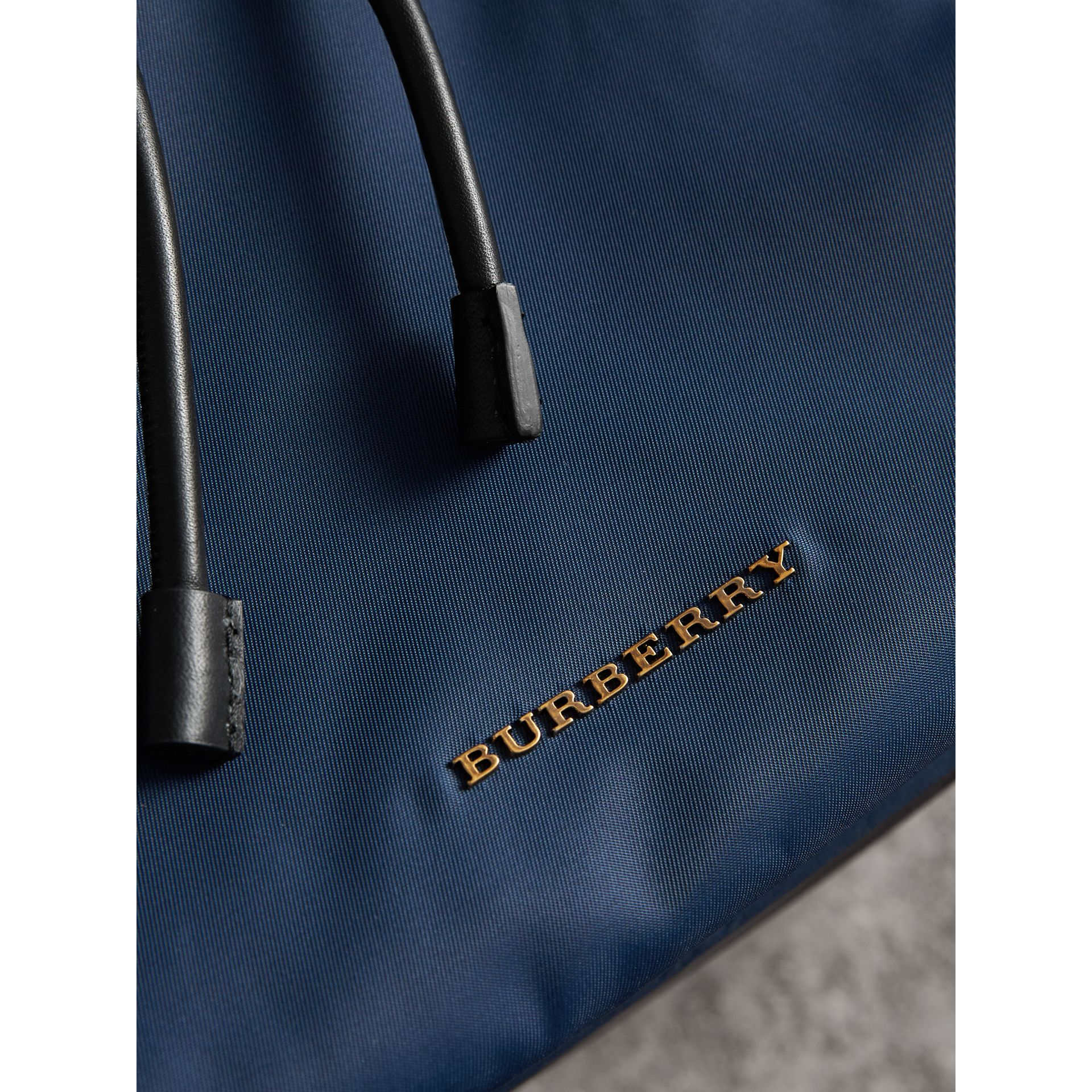 The Large Rucksack in Technical Nylon and Leather in Steel Blue - Men | Burberry - gallery image 7