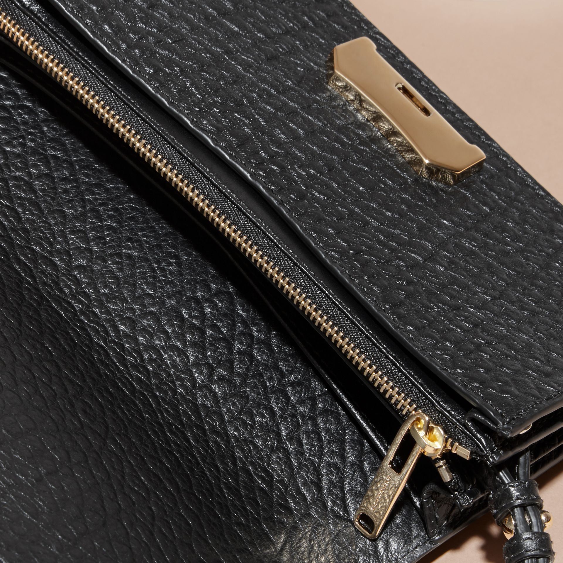Black Small Signature Grain Leather Clutch Bag with Chain - gallery image 6