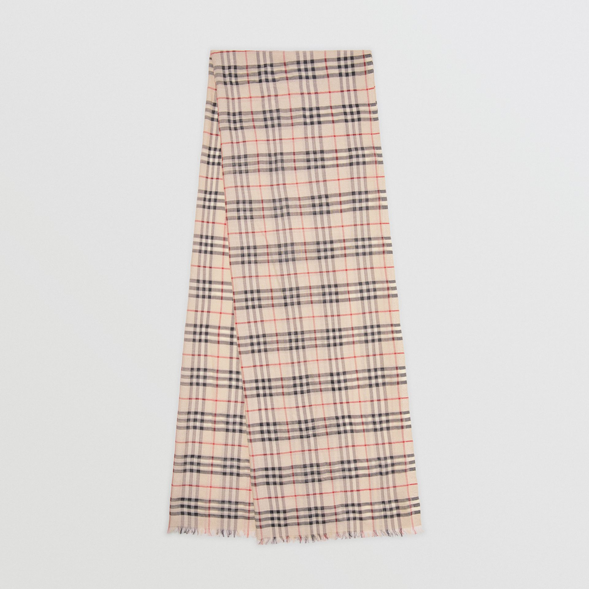 Metallic Vintage Check Wool Silk Blend Scarf in Stone | Burberry - gallery image 0