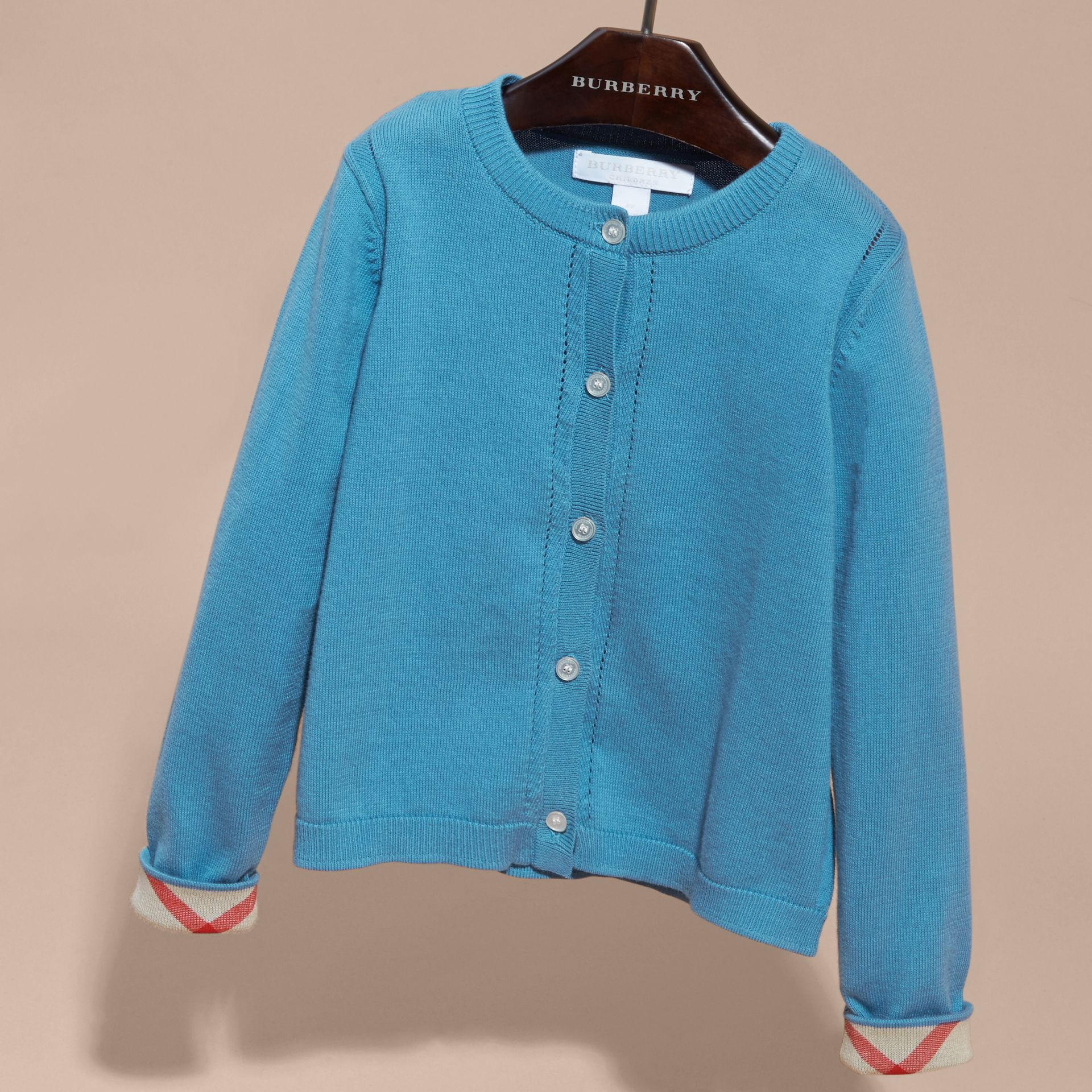 Check Cuff Cotton Knit Cardigan Pale Pewter Blue - gallery image 3