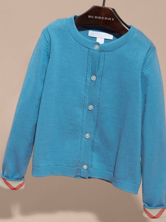 Check Cuff Cotton Knit Cardigan Pale Pewter Blue - cell image 2