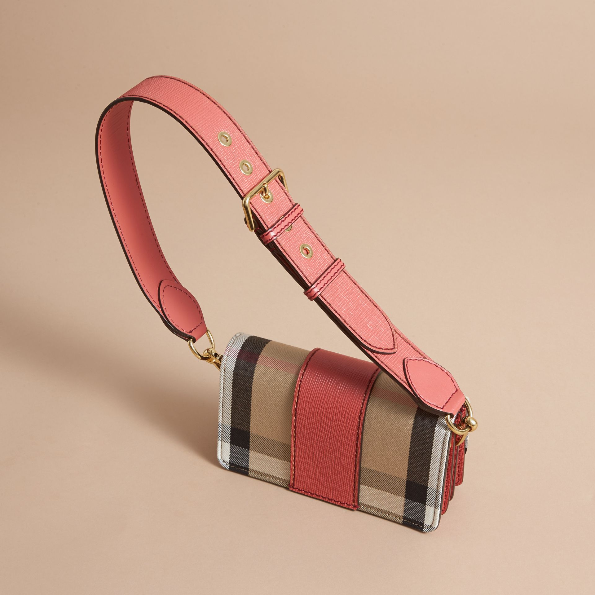 The Small Buckle Bag in House Check and Leather in Cinnamon Red - Women | Burberry Singapore - gallery image 4