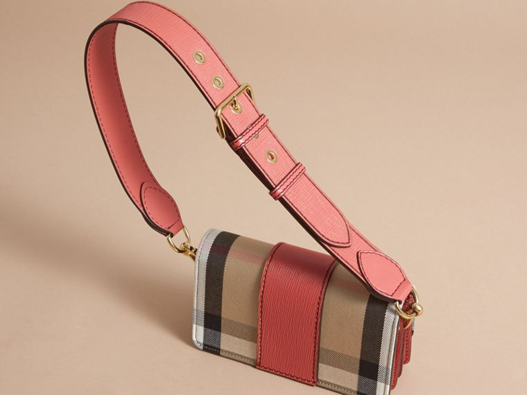 The Small Buckle Bag in House Check and Leather in Cinnamon Red - Women | Burberry - cell image 4