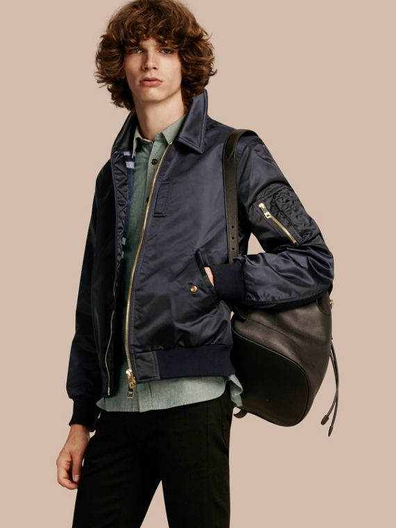Satin Bomber Jacket with Check Undercollar Navy