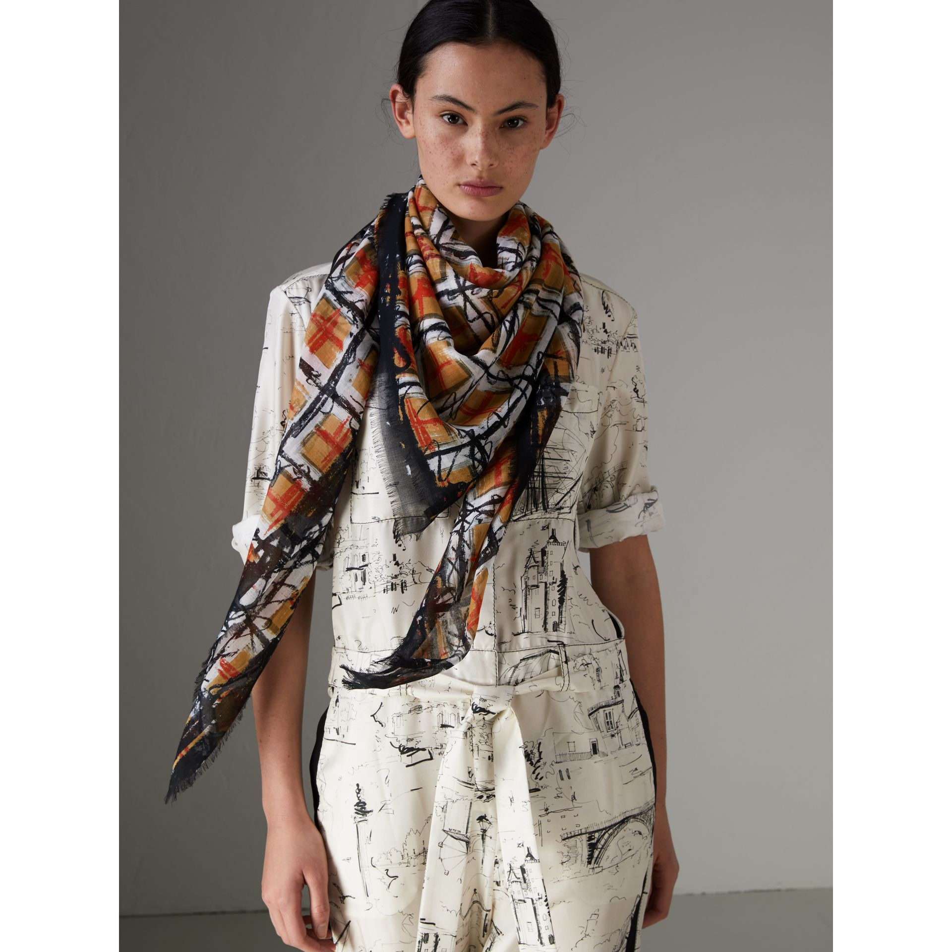 Scribble Check Print Cotton Square Scarf in Antique Yellow | Burberry United States - gallery image 3